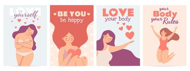 Pozytywne plakaty ciała. kochaj siebie wydruki z szczęśliwą kobietą z cytatem o samoocenie, sercu i motywacji. kobiety lub walentynki wektor zestaw. twoje ciało twoje zasady, plus rozmiar lub nadwaga dziewczyny