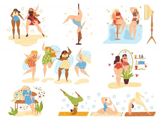 Pozytywne szczęśliwe dziewczyny, piękne kobiety z nadwagą plus rozmiar na białym zestawie ilustracji. atrakcyjna kobieta z pozytywnym ciałem tańczy, pielęgnuje urodę i zdrowie, uprawia jogę i aktywny sport.
