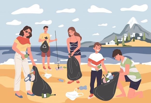 Pozytywni ludzie i dzieciak zbierający śmieci na morzu