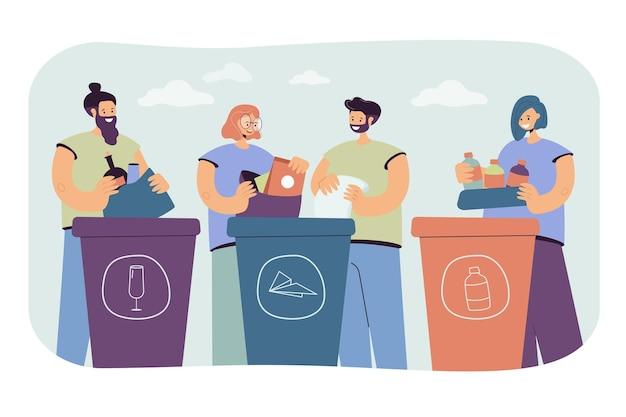 Pozytywni ludzie sortują śmieci na białym tle płaska ilustracja.