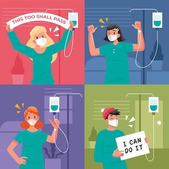 Pozytywni pacjenci walczący z covid-19