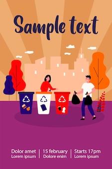 Pozytywny mężczyzna i kobieta przy sortowaniu odpadów