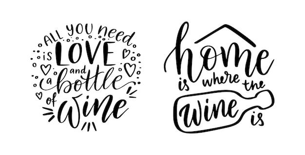 Pozytywny zestaw zabawnych powiedzeń o winie na plakat w projekcie koszulki z kawiarniąlove and wine vector quote