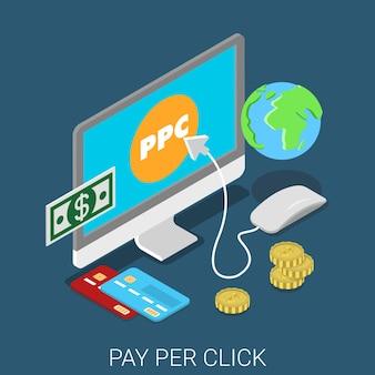 Ppc pay per click płaskie izometryczne