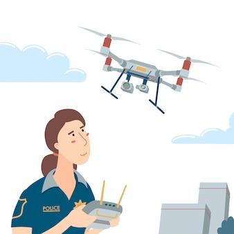 Ppolicewoman obsługujący latającego drona z ilustracją pilota zdalnego sterowania
