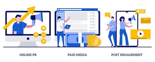 Pr online, płatne media, koncepcja zaangażowania postów z małymi ludźmi. zestaw ilustracji streszczenie usługi cyfrowej pr. copywriting, komunikacja korporacyjna, interakcje z obserwującymi, public relations.
