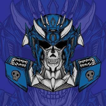 Praca artystyczna ilustracja projekt robotyczna czaszka