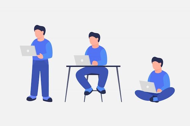 Praca człowieka za pomocą laptopa z różnych pozycji stojącej siedzieć i siedzieć ze skrzyżowanymi nogami