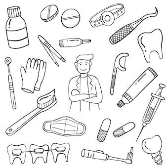 Praca dentysty lub zawód doodle ręcznie rysowane kolekcje zestawów z konturem czarno-białym stylu