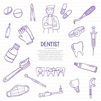 Praca dentysty lub zawód pracy doodle ręcznie rysowane ze stylem konturu na linii książek papierowych