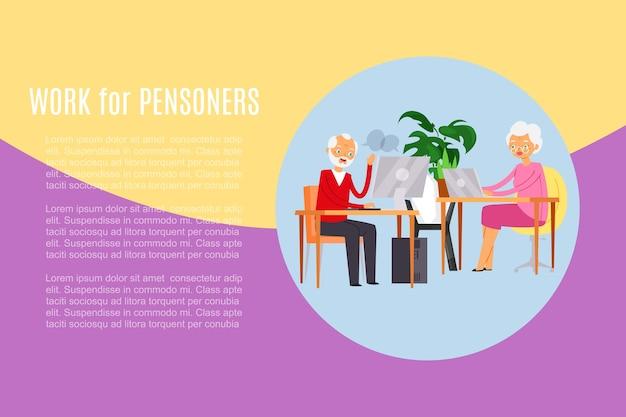 Praca dla emerytów, napis, mężczyzna przy stole, ludzie w nowoczesnym biurze, ilustracja, biały. miejsce pracy, miejsce do pracy, projekt społeczny, starszy pracownik biurowy, biznes.