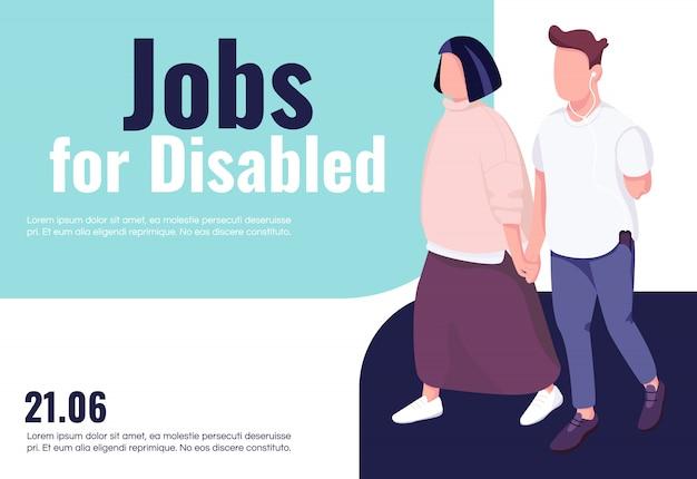 Praca dla niepełnosprawnych transparent płaski szablon. broszura, plakat projekt koncepcyjny z postaciami z kreskówek. integracja i dostępność dla osób niepełnosprawnych ulotka pozioma, ulotka z miejscem na tekst