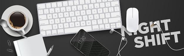 Praca domowa, nocna zmiana niechlujny biurko 3d realistyczne