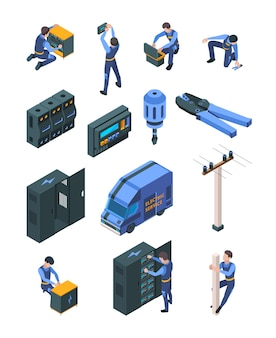 Praca elektryka. izometryczne ludzie w mundurze produkcji systemów elektrycznych bezpieczeństwa wektor profesjonalny sprzęt na białym tle. profesjonalny elektryk i mechanik, ilustracja inżyniera
