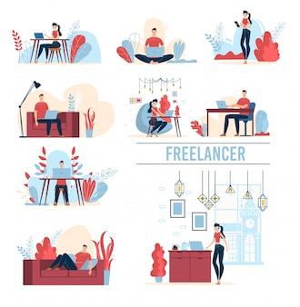 Praca freelancerów płaskie koncepcje zestaw