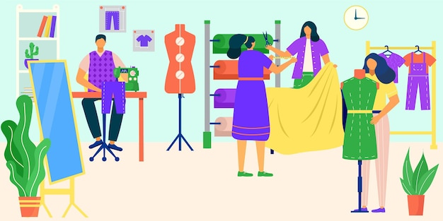 Praca krawiecka z tkaniną wektor ilustracja płaskie ludzie moda krawcowa charakter zaprojektowane ubrania...