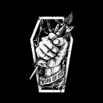 Praca lub śmierć motywacja graficzna ilustracja projekt tshirt
