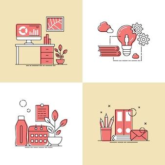 Praca narzędzia projektowania ilustracji wektorowych
