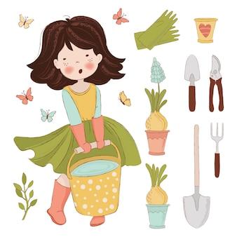 Praca ogrodowa zestaw ilustracji wiosennych
