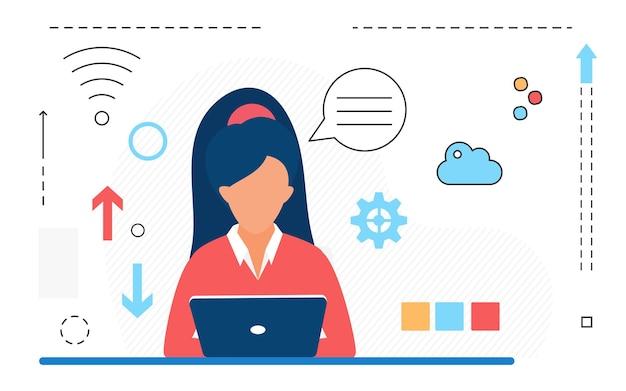 Praca online biznesowa postać kobiety pracująca z odizolowanymi ikonami linii laptopa