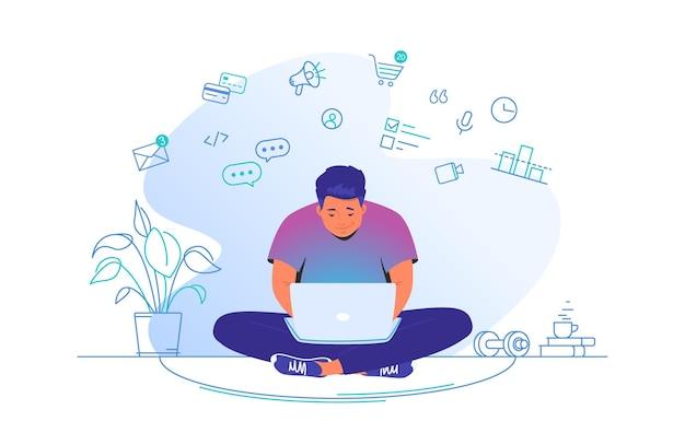 Praca online z laptopem w domu ilustracja wektorowa płaskiej linii słodkiego mężczyzny siedzącego w domu