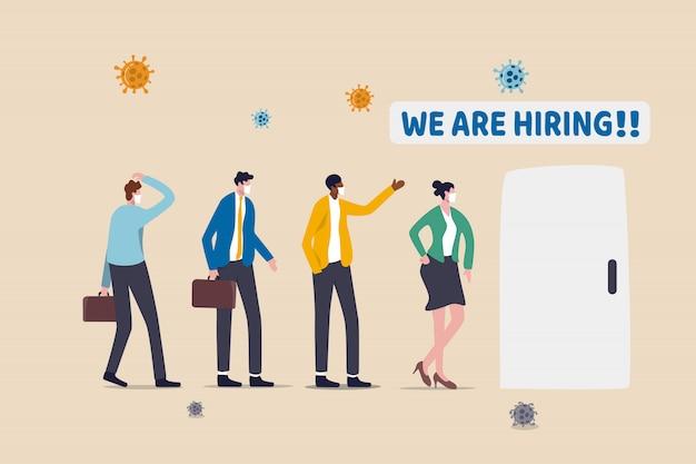 Praca otwarta dla bezrobotnych biznesmenów lub zwolnionych, nowe wolne miejsce pracy dla bezrobotnych po ożywieniu gospodarczym w kryzysie coronavirus covid-19, osoby stojące w kolejce ubiegają się o pracę z patogenem wirusowym
