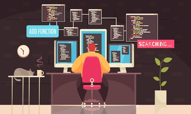 Praca programisty z płaską ilustracją symboli dnia roboczego,