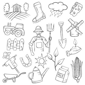 Praca rolnika lub zawód doodle ręcznie rysowane kolekcje zestawów z konturem czarno-białym stylu
