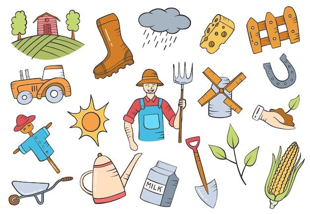 Praca rolnika lub zawód doodle ręcznie rysowane kolekcje zestawów z płaskim stylem konturu