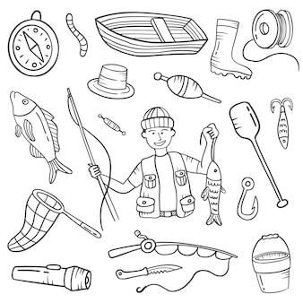 Praca rybaka lub zawód doodle ręcznie rysowane kolekcje zestawów z konturem czarno-białym stylu
