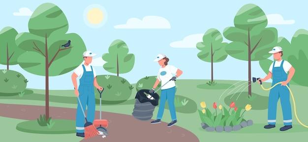 Praca społeczna w jednolitym kolorze. zespół dozorców postaci z kreskówek 2d z parkiem w tle. usługa sprzątania, sprzątanie środowiska. wolontariusze zbierają śmieci i podlewają kwiaty