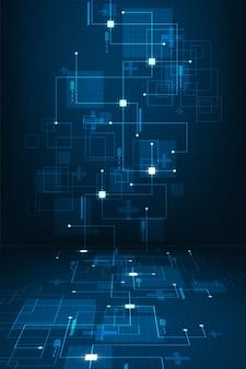Praca systemów cyfrowych, które podróżują przez obwody elektroniczne. tło