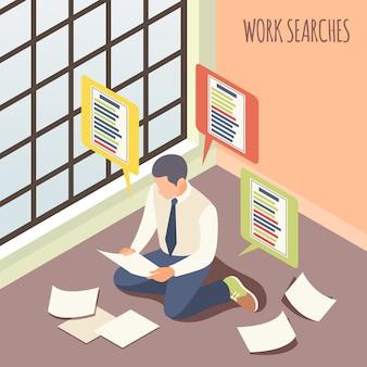 Praca szuka izometrycznej męskiej osoby, biorąc pod uwagę wolne miejsca pracy, siedząc na podłodze ilustracji wektorowych