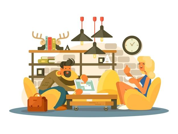 Praca w biurze coworkingowym. mężczyzna i kobieta pracująca w wygodnym fotelu. ilustracja wektorowa