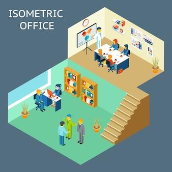 Praca w biurze. izometryczny widok 3d w stylu płaski pracowników biurowych.