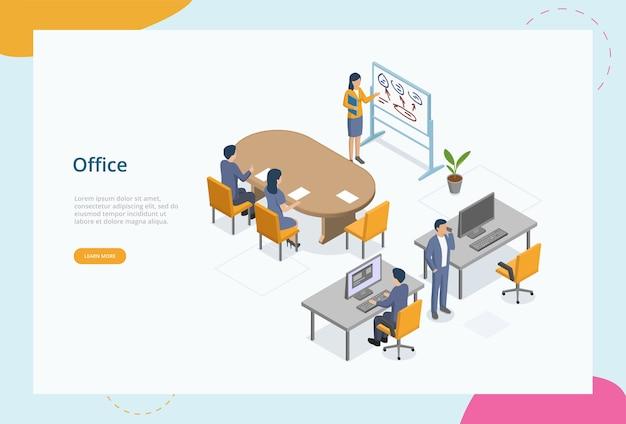 Praca w biurze, koncepcja przestrzeni coworkingowej. postacie płci męskiej i żeńskiej spotykają się w biurze. współpracownicy pracujący, planujący, oglądający szkolenia biznesowe lub wykłady. kolorowe izometryczne 3d.
