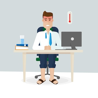 Praca w biurze latem jest duszna, gorąca, stresująca, brak świeżego powietrza, garnitur. mężczyzna siedzi w biurze w lecie, on się poci. ilustracja wektorowa w stylu płaski.