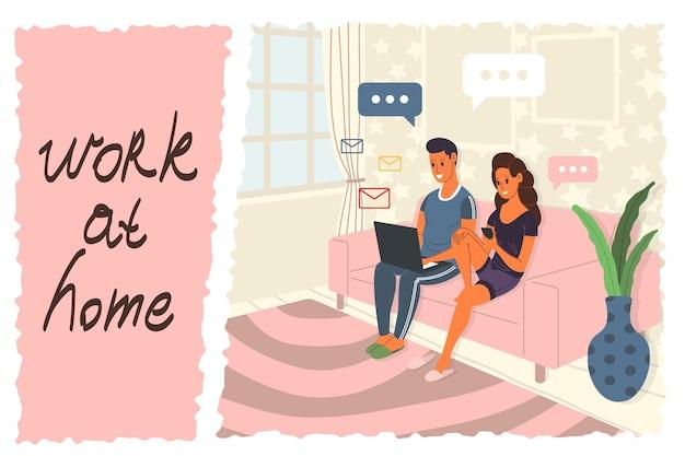 Praca w domu, coworking, prowadzenie webinaru, ilustracja koncepcyjna. młodzi ludzie, mężczyzna i kobieta, freelancerzy pracują w domu przy użyciu laptopa, komputera, smartfona podczas kwarantanny. ilustracja wektorowa.