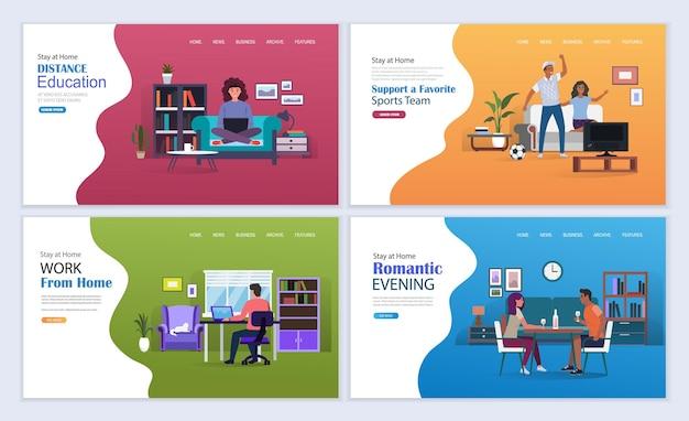 Praca w domu, edukacja online, gry i rozrywka na temat samoizolacji podczas koronawirusa. pobyt w domu wektor ilustracja koncepcja. szablon strony docelowej.