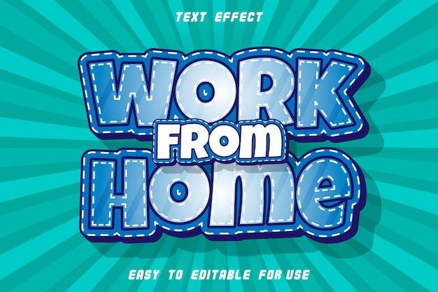 Praca w domu edytowalny efekt tekstowy wytłoczony styl komiksowy