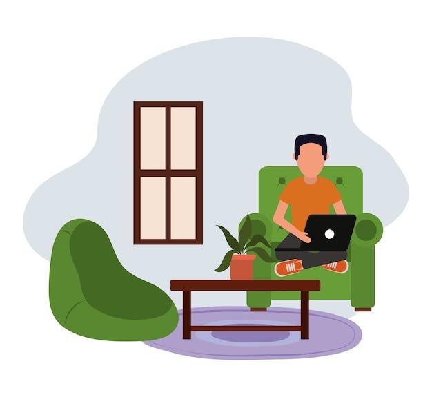 Praca w domu, facet przy użyciu komputera przenośnego w salonie, ludzie w domu w kwarantannie ilustracji
