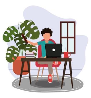 Praca w domu, facet z filiżanką kawy laptopa i książkami na stole i pokoju roślin, ludzie w domu na ilustracji kwarantanny
