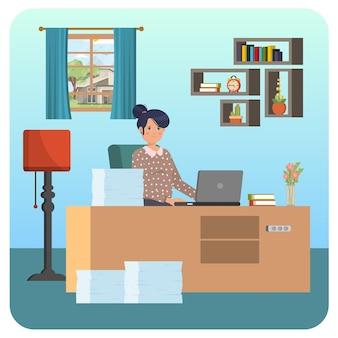 Praca w domu ilustracja wewnętrzna