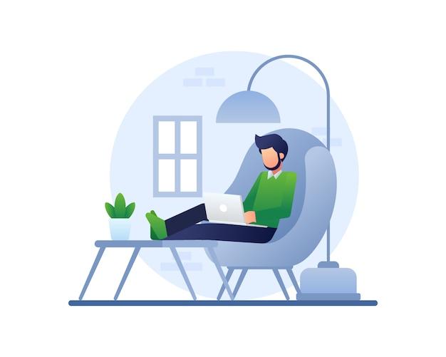 Praca w domu ilustracja z mężczyzną działa przy użyciu laptopa na wygodnej kanapie