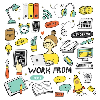 Praca w domu koncepcja doodle