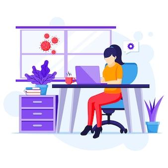 Praca w domu koncepcja, kobieta siedzi przy biurku i pracować na laptopie