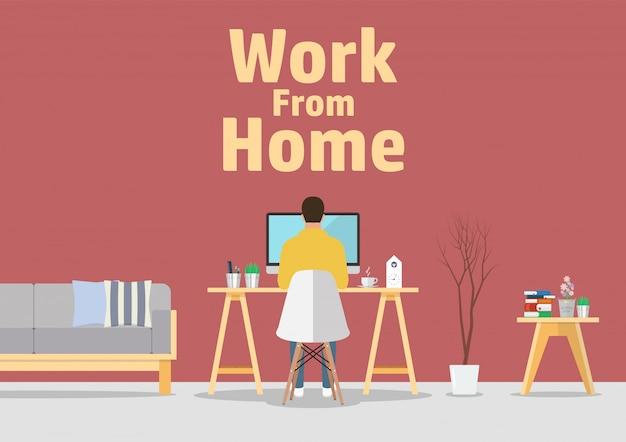 Praca w domu koncepcja kwarantanny koronawirusa pandemicznego