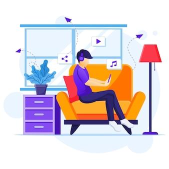 Praca w domu koncepcja, mężczyzna siedzi na kanapie słuchania muzyki