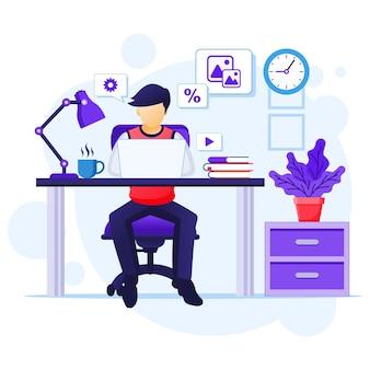 Praca w domu koncepcja, mężczyzna siedzi przy biurku i pracować na laptopie