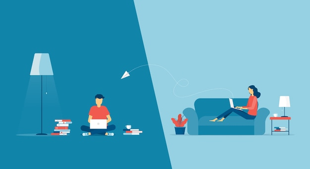 Praca W Domu Koncepcja Miejsca Pracy I Biznesowa Inteligentna Praca Online łączenie W Dowolnym Miejscu Premium Wektorów